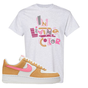 Nike Air Force 1 Pink Orange T-Shirt | In Living Color, Ash