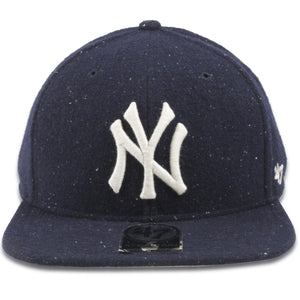 New York Yankees Vintage Speckled Navy Blue Wool Adjustable Snapback Hat