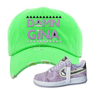 Air Force 1 P[her]spective Distressed Dad Hat | Neon Green, Damn Gina