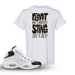 Reebok Question Mid Black Toe T Shirt | Ash, Float Like A Butterfly Lettering
