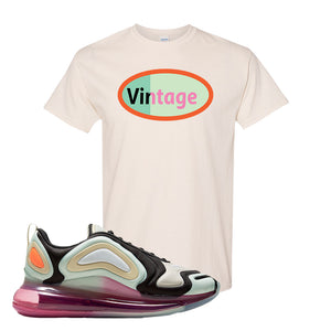 Air Max 720 WMNS Black Fossil Sneaker Natural T Shirt | Tees to match Nike Air Max 720 WMNS Black Fossil Shoes | Vintage Oval
