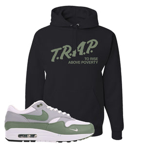 Air Max 1 Spiral Sage Hoodie | Trap To Rise Above Poverty, Black