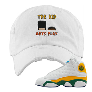 The Kids Gets Play White Distressed Dad Hat to match Air Jordan 13 GS Playground Kids Sneaker
