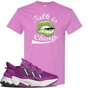 Ozweego Vivid Pink Sneaker Heather Radiant Orchid T Shirt | Tees to match Adidas Ozweego Vivid Pink Shoes | Talk is Cheap