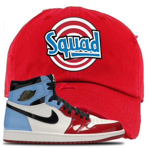 Air Jordan 1 Fearless Squad Red Made to Match Distressed Dad Hat