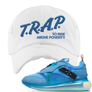 Air Max 720 OBJ Slip Light Blue Distressed Dad Hat | White, Trap To Rise Above Poverty