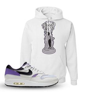 Air Max 1 DNA Series Sneaker White Pullover Hoodie | Hoodie to match Nike Air Max 1 DNA Series Shoes | The World Is Yours Statue