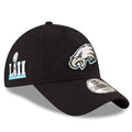 on the right side of the philadelphia eagles super bowl 52 dad hat is the superbowl 52 patch in silver and light blue