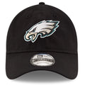 on the front of the superbowl LII philadelphia eagles dad hat is the Philadelphia Eagles logo embroidered in white, black, pacific green and silver