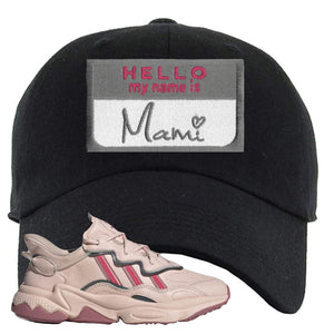Women Ozweego Icy Pink Dad Hat | Hello My Name Is Mami, Black
