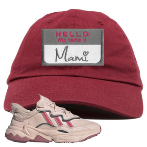 Women Ozweego Icy Pink Dad Hat | Hello My Name Is Mami, Maroon