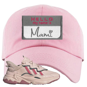 Adidas WMNS Ozweego Icy Pink Hello My Name is Mami Pink Sneaker Hook Up Dad Hat