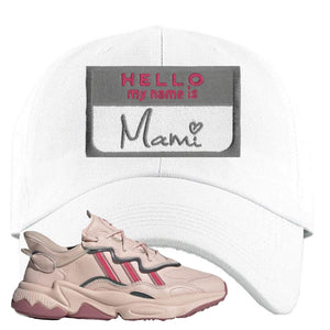 Women Ozweego Icy Pink Dad Hat | Hello My Name Is Mami, White