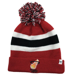 embroidered on the front of the retro Miami Heat Throwback '47 brand beanie is the old-school Miami Heat logo