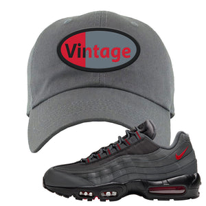 Air Max 95 Dark Gray and Red Dad Hat | Vintage Oval, Dark Gray