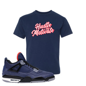 Jordan 4 WNTR Loyal Blue Hustle And Motivate Navy Sneaker Hook Up Kid's T-Shirt
