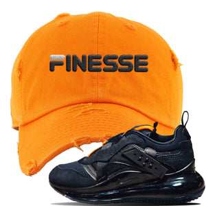 Air Max 720 OBJ Slip Sneaker Safety Orange Distressed Dad Hat | Hat to match Nike Air Max 720 OBJ Slip Shoes | Finesse