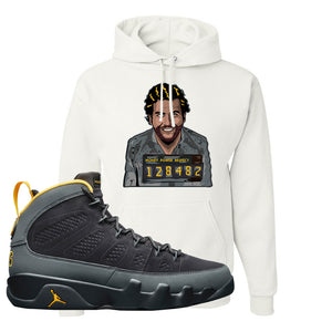 Air Jordan 9 Charcoal University Gold Hoodie | Escobar Illustration, White