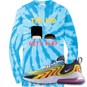 The Kid Gets Play Turquoise Longsleeve T-Shirt to match Air Max 270 React ENG Laser Blue Sneakers