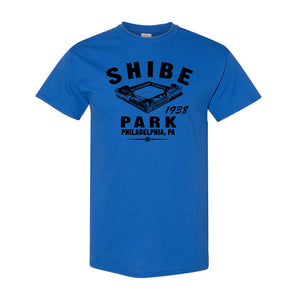 Shibe Park Retro T-Shirt | Shibe Park Vintage Royal Blue T-Shirt thee front of this shibe park shirt has the park and text in black along with the year that the Phillies joined the stadium
