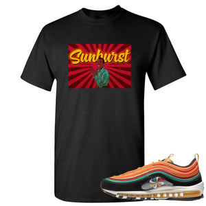 Printed on the front of the Air Max 97 Sunburst sneaker matching black t-shirt is the Harry Belafonte Sunburst logo