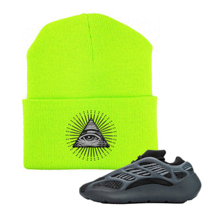 Yeezy Boost 700 V3 Alvah Sneaker Neon Green Beanie | Beanie to match Adidas Yeezy Boost 700 V3 Alvah Shoes | All Seeing Eye