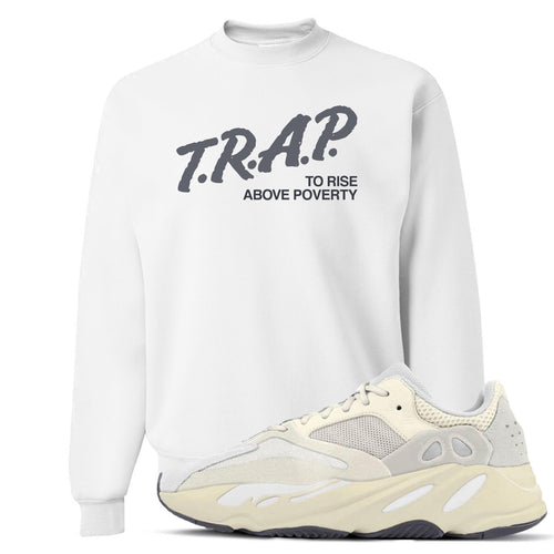 Yeezy Boost 700 Analog Sneaker Match Trap Rise Above White Crewneck Sweater