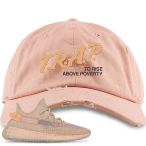 Yeezy Boost 350 Clay V2 Sneaker Hook Up Trap Rise Above Peach Distressed Dad Hat