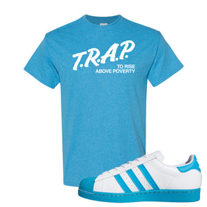 Adidas Superstar 'Aqua Toe' T Shirt | Heather Sapphire, Trap To Rise Above Poverty