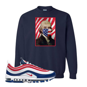 Air Max 97 USA Crewneck | Navy Blue, Thomas & Jefferson Mask