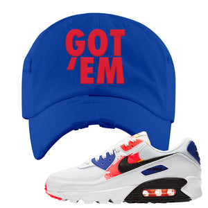 Air Max 90 Paint Streaks Distressed Dad Hat | Got Em, Royal Blue