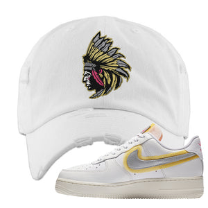 Air Force 1 Low 07 LX White Gold Distressed Dad Hat | Indian Chief, White