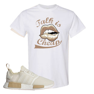 NMD R1 Chalk White Sneaker White T Shirt | Tees to match Adidas NMD R1 Chalk White Shoes | Talk is Cheap