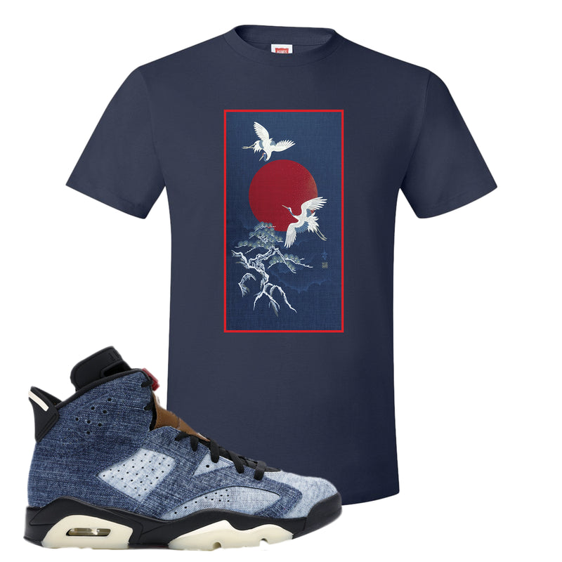 Jordan 6 Washed Denim T Shirt | Navy Blue, Crane Sun