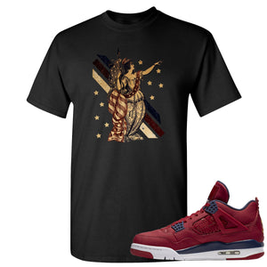 Jordan 4 FIBA Lady Liberty Black Sneaker Matching Tee Shirt