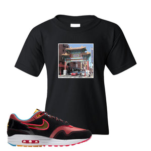 Air Max 1 NYC Chinatown Chinese Gate Of Friendship Black Kid's T-Shirt To Match Sneakers