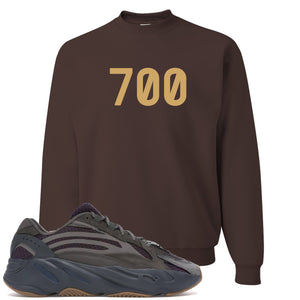 "Yeezy Boost 700 Geode Sneaker Hook Up ""700"" Brown Crewneck Sweater"