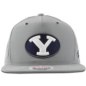 The reflective BYU gray adjustable snapback hat features the BYU logo embroidered on the front in 3D