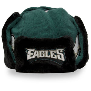 front of Eagles Trapper hat | Philadelphia Eagles Fleece lined trapper helmet midnight green | Black Ushanka trapper hat
