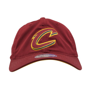 on the front of the cleveland cavaliers maroon dad hat is the maroon cavs logo in maroon and yellow