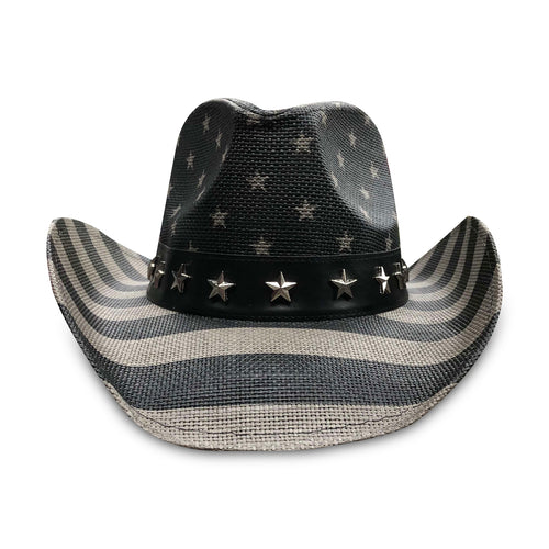 The Black American Flag Print Cowboy Hat features a gray scale version of the American Flag Stars and Stripes Print