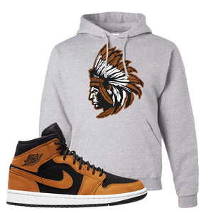 Air Jordan 1 Mid Wheat Hoodie | Indian Chief, Ash