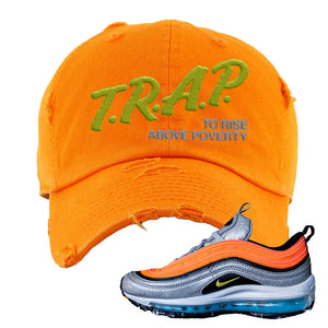 Air Max Plus Sky Nike Distressed Dad Hat | Orange, Trap To Rise Above Poverty