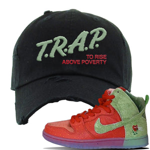SB Dunk High 'Strawberry Cough' Distressed Dad Hat | Black, Trap To Rise Above Poverty