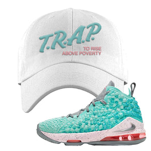 Lebron 17 South Beach Dad Hat | Trap to Rise Above Poverty, White