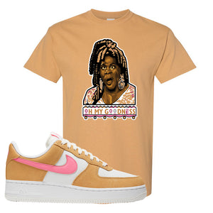 Nike Air Force 1 Pink Orange T-Shirt | Oh My Goodness, Old Gold