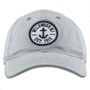 Wildwood, New Jersey Anchor Patch Light Gray Oxford Cloth Adjustable Baseball Cap