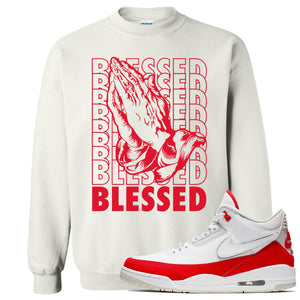 This white and red sweater will match great with your Jordan 3 Tinker Air Max shoes