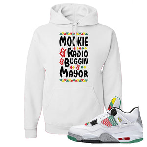 Jordan 4 WMNS Carnival Sneaker White Pullover Hoodie | Hoodie to match Do The Right Thing 4s | Mookie And Gang