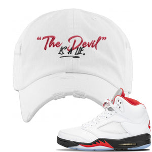 Air Jordan 5 OG Fire Red Distressed Dad Hat | White, Devil Is A Lie